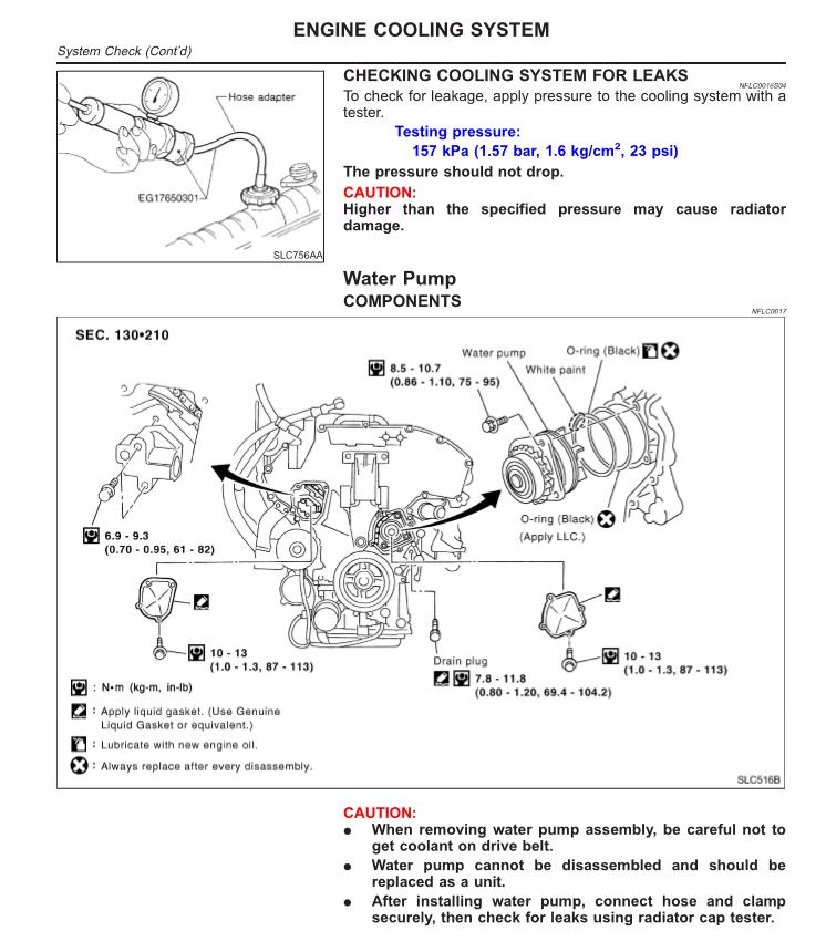 замена помпы на Nissan Cefiro мануал